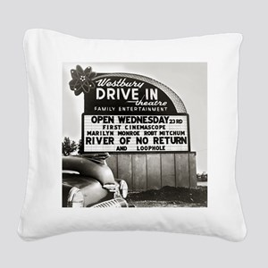 Drive-In Theater Marquee, 195 Square Canvas Pillow